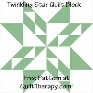 """Twinkling Star Quilt Block Free Pattern for a 12"""" quilt block at QuiltTherapy.com!"""