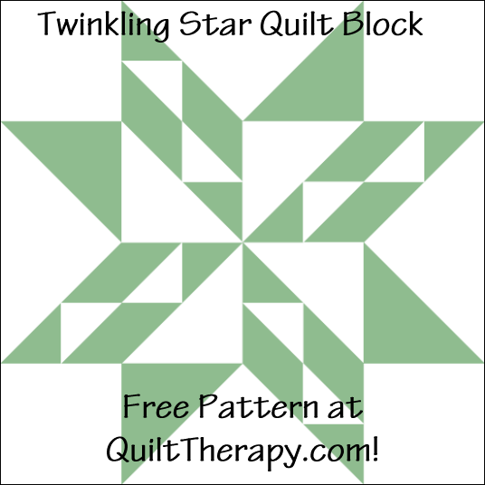 "Twinkling Star Quilt Block Free Pattern for a 12"" quilt block at QuiltTherapy.com!"