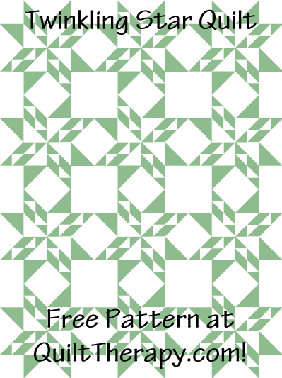 """Twinkling Star Quilt Free Pattern for a 36"""" x 48"""" quilt at QuiltTherapy.com!"""
