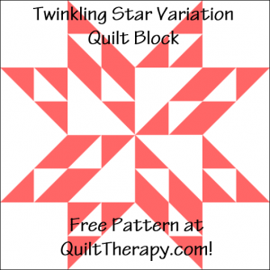"""Twinkling Star Variation Quilt Block Free Pattern for a 12"""" quilt block at QuiltTherapy.com!"""