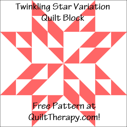 "Twinkling Star Variation Quilt Block Free Pattern for a 12"" quilt block at QuiltTherapy.com!"