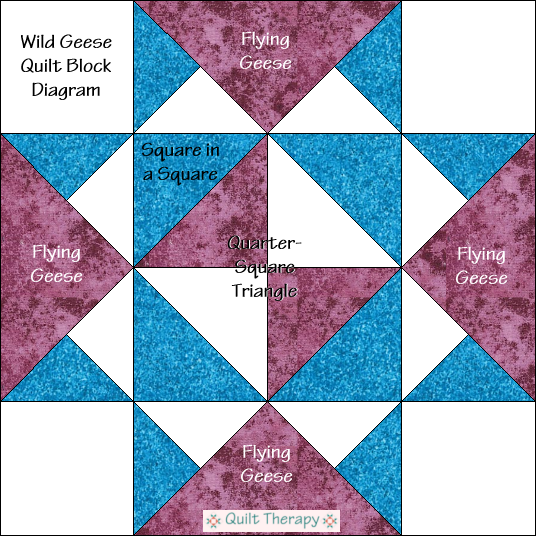 "Wild Geese Quilt Block Diagram Free Pattern for 12"" finished quilt block at QuiltTherapy.com!"