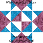 "Wild Geese Quilt Block Free Pattern for a 12"" quilt block at QuiltTherapy.com!"