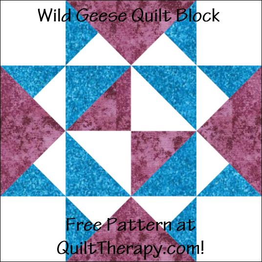 """Wild Geese Quilt Block Free Pattern for a 12"""" quilt block at QuiltTherapy.com!"""