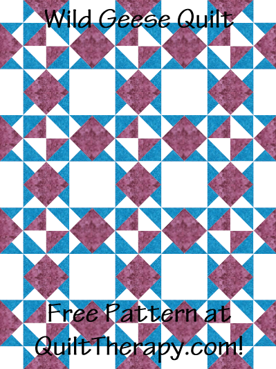 """Wild Geese Quilt Free Pattern for a 36"""" x 48"""" quilt at QuiltTherapy.com!"""