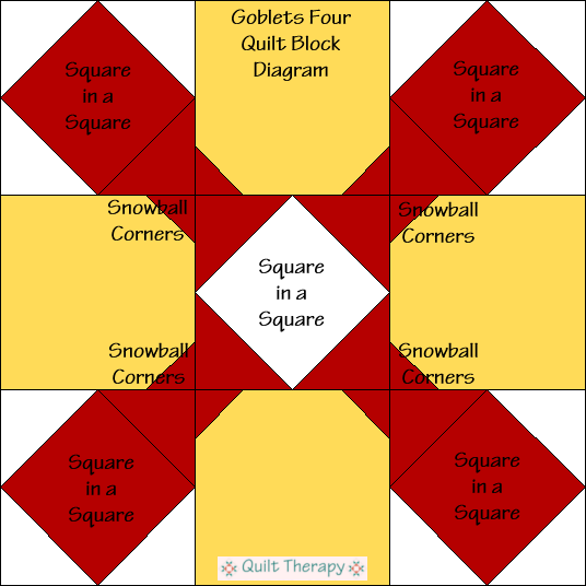 """Goblet Four Quilt Block Diagram Free Pattern for 12"""" finished quilt block at QuiltTherapy.com!"""