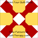 "Goblet Four Quilt Block Free Pattern for a 12"" quilt block at QuiltTherapy.com!"