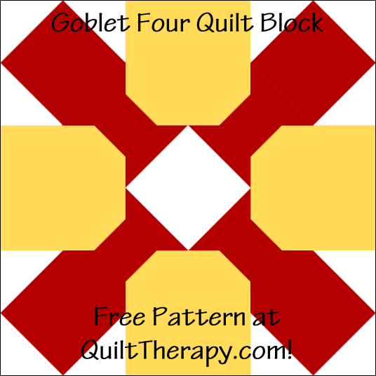 """Goblet Four Quilt Block Free Pattern for a 12"""" quilt block at QuiltTherapy.com!"""