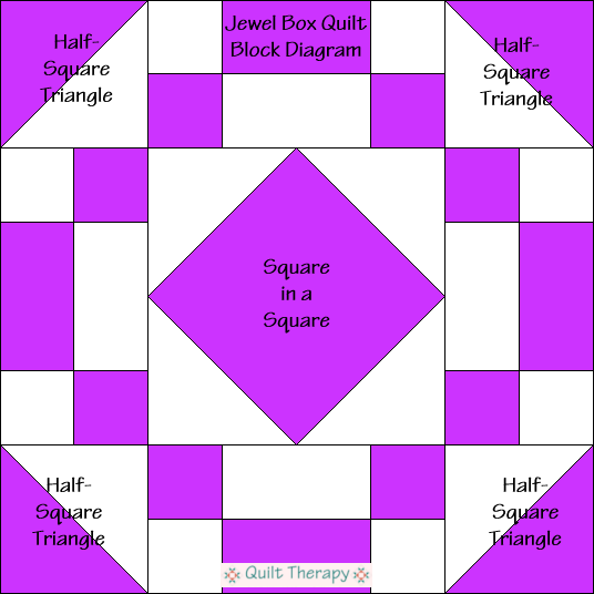 """Jewel Box Quilt Block Diagram Free Pattern for 12"""" finished quilt block at QuiltTherapy.com!"""