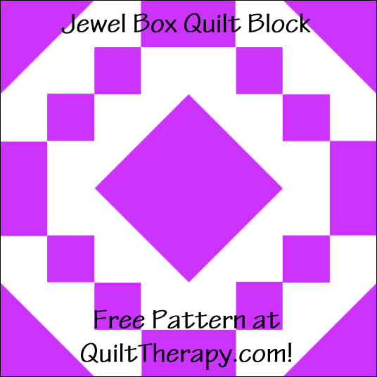 """Jewel Box Quilt Block Free Pattern for a 12"""" quilt block at QuiltTherapy.com!"""