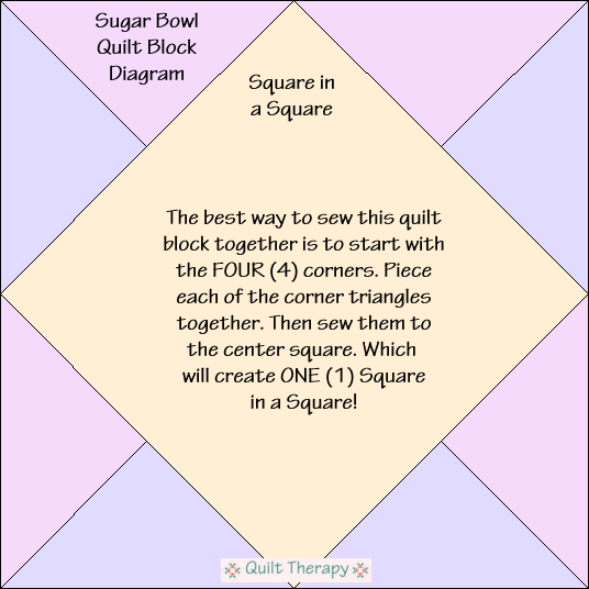 "Sugar Bowl Quilt Block Diagram Free Pattern for 12"" finished quilt block at QuiltTherapy.com!"