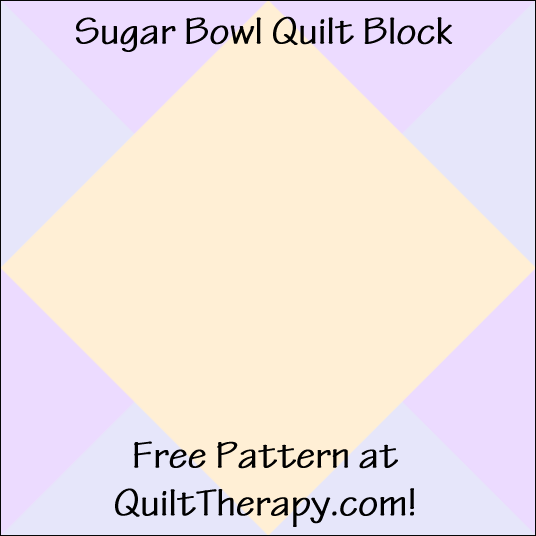 "Sugar Bowl Quilt Block Free Pattern for a 12"" quilt block at QuiltTherapy.com!"