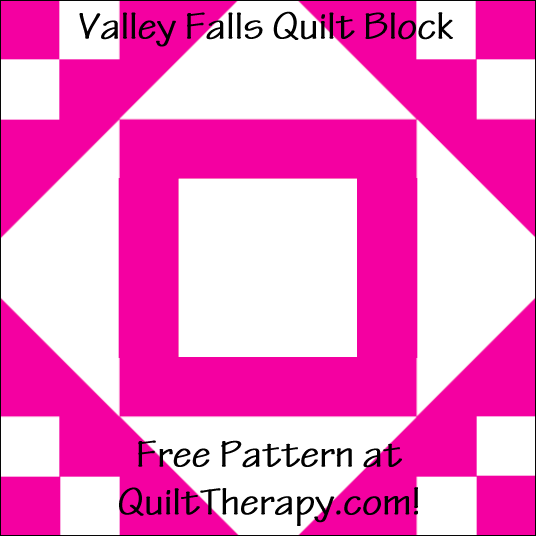 "Valley Falls Quilt Block Free Pattern for a 12"" quilt block at QuiltTherapy.com!"
