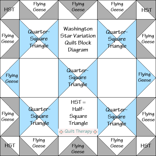 """Washington Star Variation Quilt Block Diagram Free Pattern for 12"""" finished quilt block at QuiltTherapy.com!"""