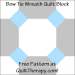 "Bow Tie Wreath Quilt Block Free Pattern for a 12"" quilt block at QuiltTherapy.com!"