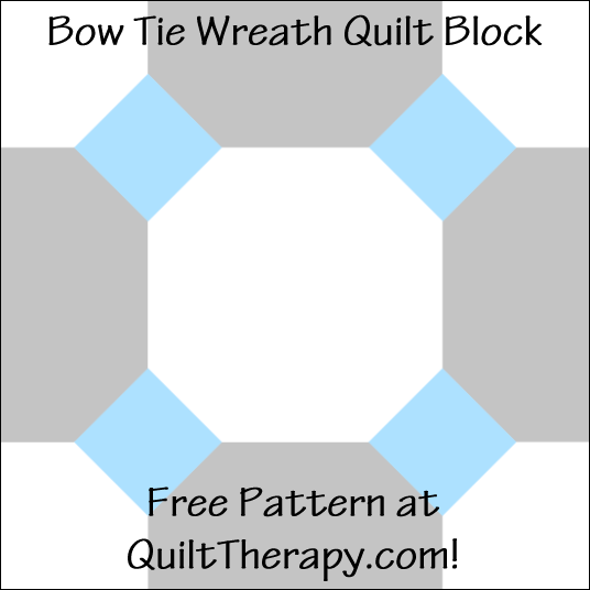 """Bow Tie Wreath Quilt Block Free Pattern for a 12"""" quilt block at QuiltTherapy.com!"""