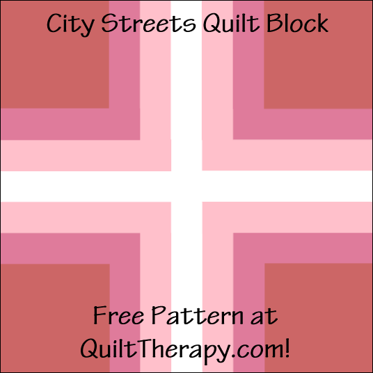 "City Streets Quilt Block Free Pattern for a 12"" quilt block at QuiltTherapy.com!"