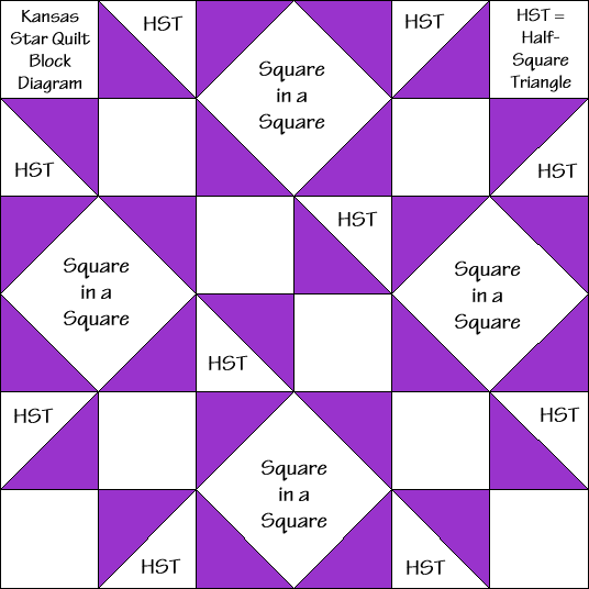 """Kansas Star Quilt Block Diagram Free Pattern for 12"""" finished quilt block at QuiltTherapy.com!"""