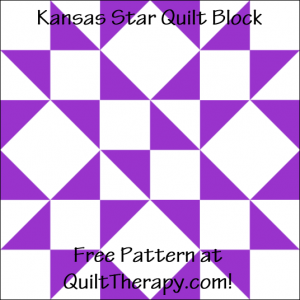 """Kansas Star Quilt Block Free Pattern for a 12"""" quilt block at QuiltTherapy.com!"""