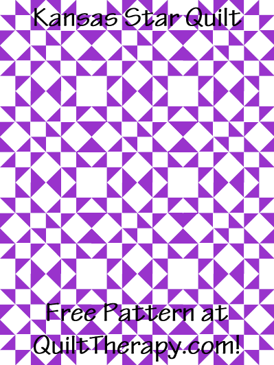 """Kansas Star Quilt Free Pattern for a 36"""" x 48"""" quilt at QuiltTherapy.com!"""