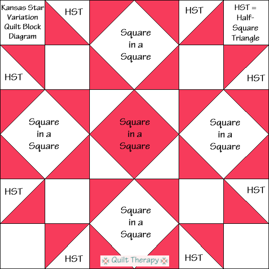 """Kansas Star Variation Quilt Block Diagram Free Pattern for 12"""" finished quilt block at QuiltTherapy.com!"""