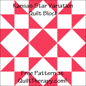 """Kansas Star Variation Quilt Block Free Pattern for a 12"""" quilt block at QuiltTherapy.com!"""