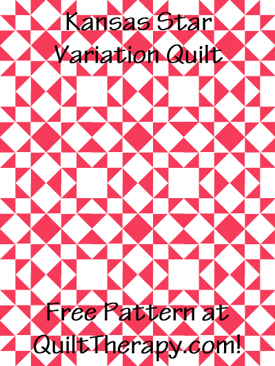 """Kansas Star Variation Quilt Free Pattern for a 36"""" x 48"""" quilt at QuiltTherapy.com!"""