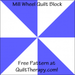 "Mill Wheel Quilt Block Free Pattern for a 12"" quilt block at QuiltTherapy.com!"