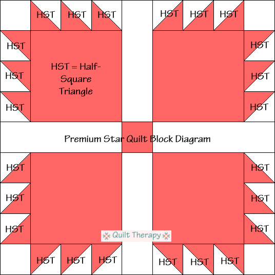 """Premium Star Quilt Block Diagram Free Pattern for 12"""" finished quilt block at QuiltTherapy.com!"""