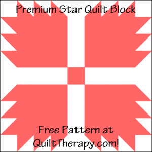 """Premium Star Quilt Block Free Pattern for a 12"""" quilt block at QuiltTherapy.com!"""