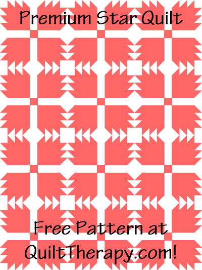 """Premium Star Quilt Free Pattern for a 36"""" x 48"""" quilt at QuiltTherapy.com!"""