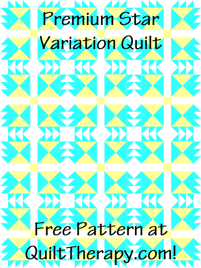 """Premium Star Variation Quilt Free Pattern for a 36"""" x 48"""" quilt at QuiltTherapy.com!"""