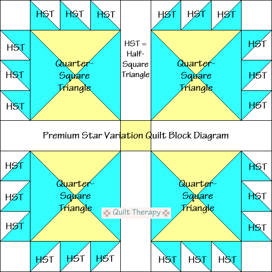 """Premium Star Variation Quilt Block Diagram Free Pattern for 12"""" finished quilt block at QuiltTherapy.com!"""