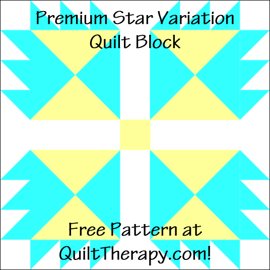 """Premium Star Variation Quilt Block Free Pattern for a 12"""" quilt block at QuiltTherapy.com!"""