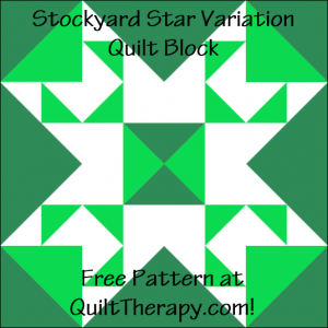 """Stockyard Star Variation Quilt Block Free Pattern for a 12"""" quilt block at QuiltTherapy.com!"""