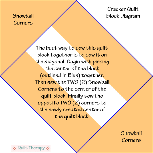 "Cracker Quilt Block Diagram Free Pattern for 12"" finished quilt block at QuiltTherapy.com!"