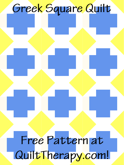"Greek Square Quilt Free Pattern for a 36"" x 48"" quilt at QuiltTherapy.com!"