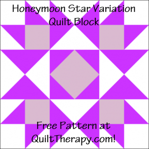 """Honeymoon Star Variation Quilt Block Free Pattern for a 12"""" quilt block at QuiltTherapy.com!"""
