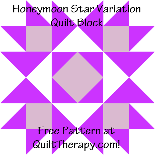 "Honeymoon Star Variation Quilt Block Free Pattern for a 12"" quilt block at QuiltTherapy.com!"