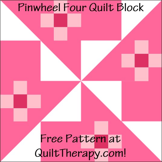 "Pinwheel Four Quilt Block Free Pattern for a 12"" quilt block at QuiltTherapy.com!"