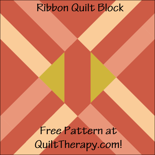 "Ribbon Quilt Block Free Pattern for a 12"" quilt block at QuiltTherapy.com!"