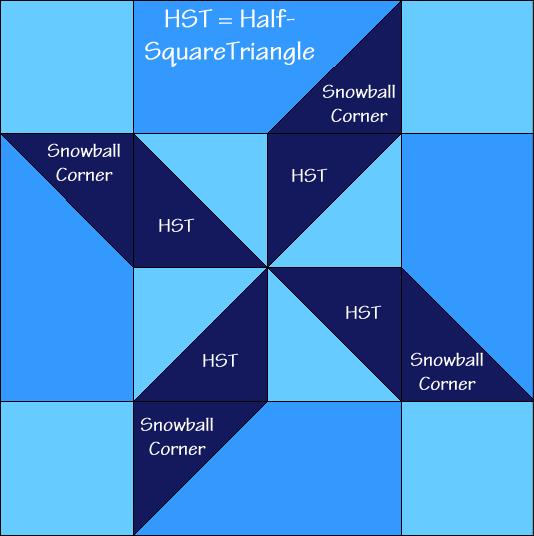 Shooting Star Quilt Block Diagram