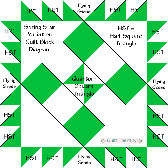 """Spring Star Variation Quilt Block Diagram Free Pattern for 12"""" finished quilt block at QuiltTherapy.com!"""