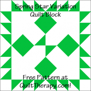 """Spring Star Variation Quilt Block Free Pattern for a 12"""" quilt block at QuiltTherapy.com!"""