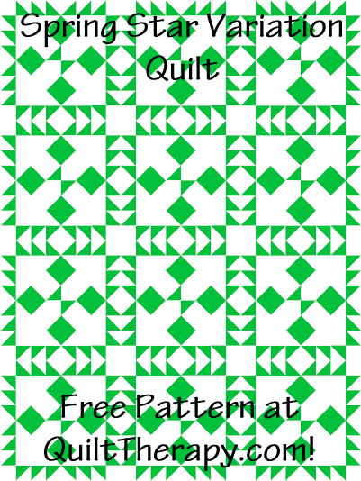 """Spring Star Variation Quilt Free Pattern for a 36"""" x 48"""" quilt at QuiltTherapy.com!"""