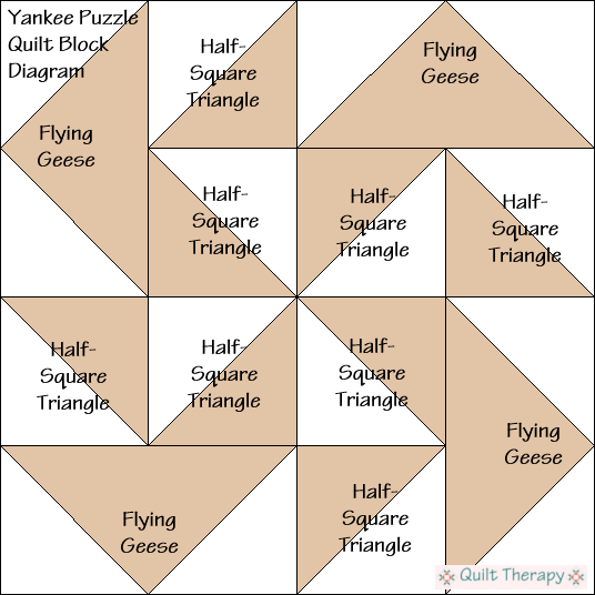 """Yankee Puzzle Quilt Block Diagram Free Pattern for 12"""" finished quilt block at QuiltTherapy.com!"""