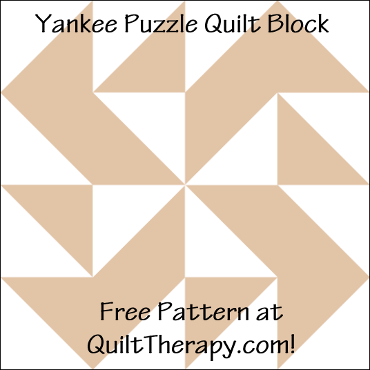 "Yankee Puzzle Quilt Block Free Pattern for a 12"" quilt block at QuiltTherapy.com!"