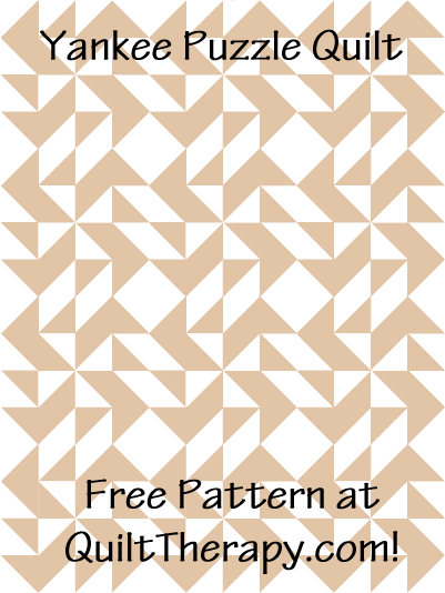 """Yankee Puzzle Quilt Free Pattern for a 36"""" x 48"""" quilt at QuiltTherapy.com!"""