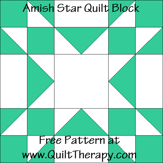 Amish Star Quilt Block Free Pattern at QuiltTherapy.com!