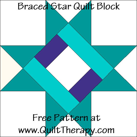Braced Star Quilt Block Free Pattern at QuiltTherapy.com!